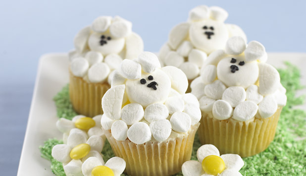 15 adorable easter cupcake recipes marshmallow sheep cupcakes negle Images