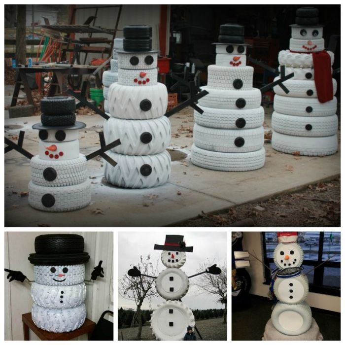 12 creative diy ideas you are sure to love for Snowmen made from tires