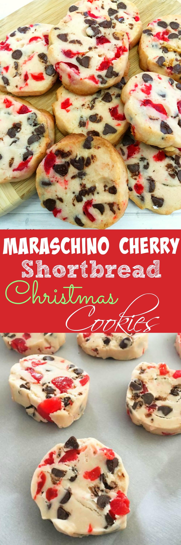 Maraschino Cherry Shortbread Christmas Cookies
