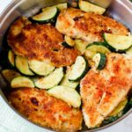 Pan Fried Parmesan Chicken & Garlic Zucchini