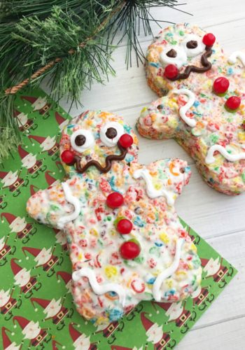 Gingerbread Krispy Treats with Fruity Pebbles!