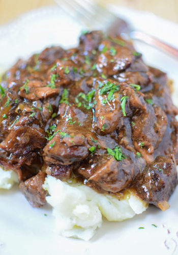 Slow Cooker Sirloin Beef Tips in Mushroom Gravy!