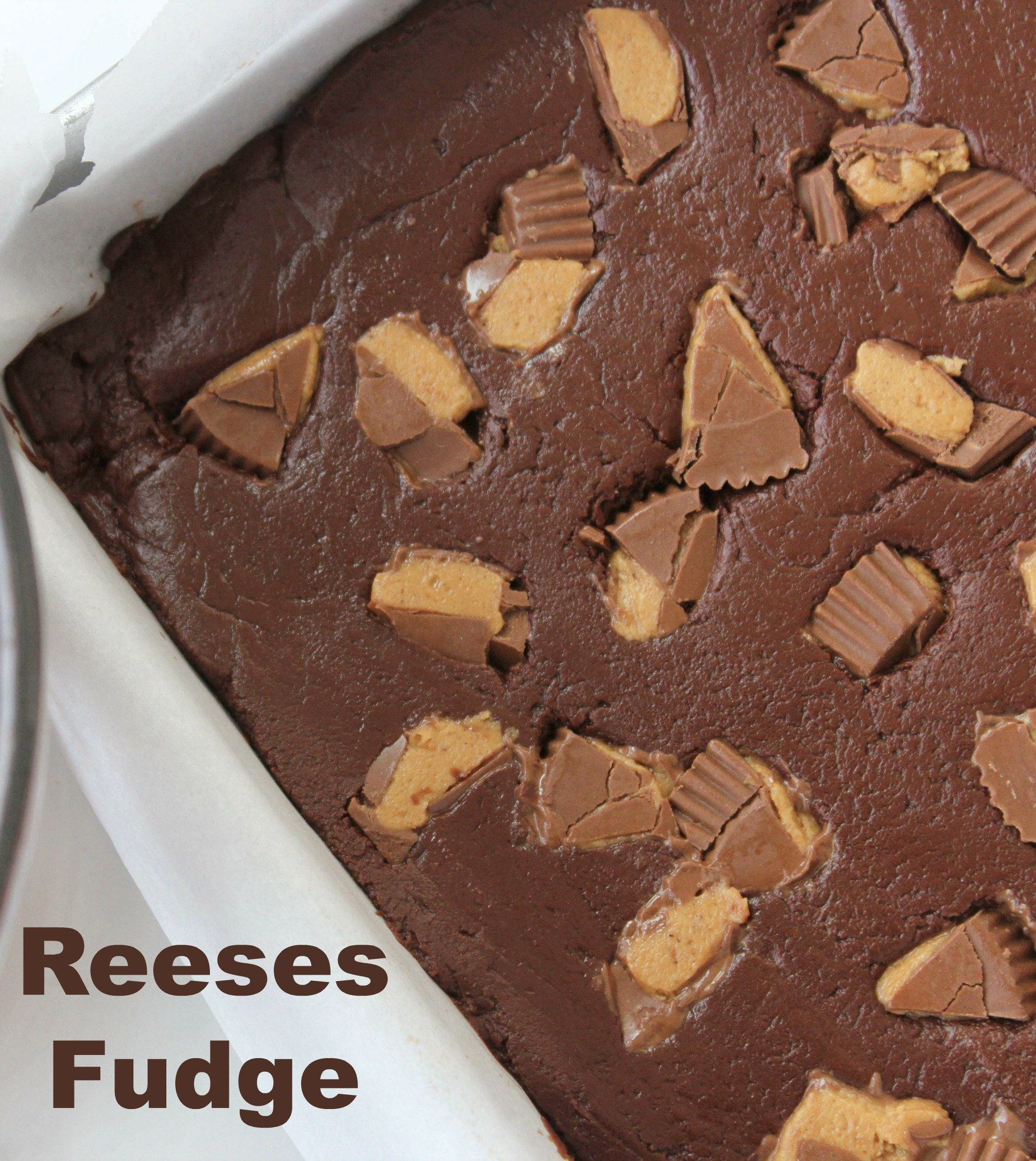 No Bake 3 Ingredient Reeses Peanut Butter Cup Fudge!