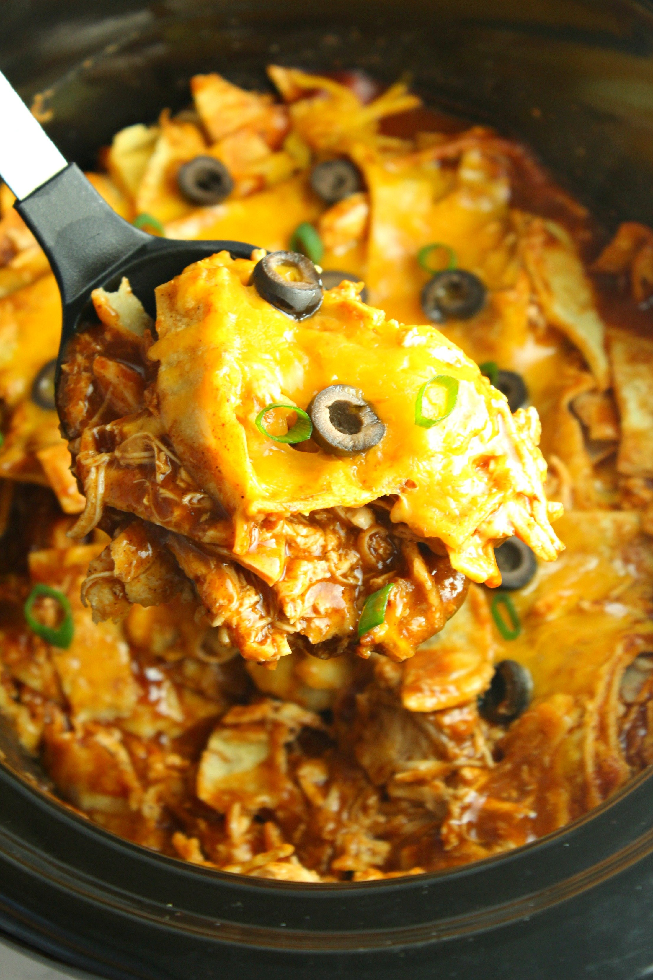 Slow Cooker Chicken Enchilada Casserole