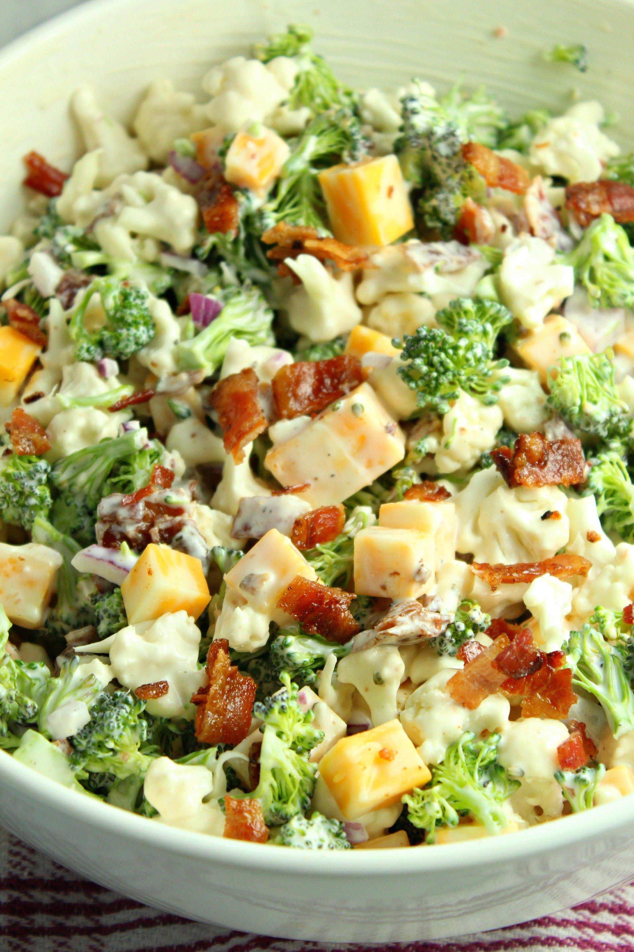 Loaded Broccoli Cauliflower Salad Low Carb