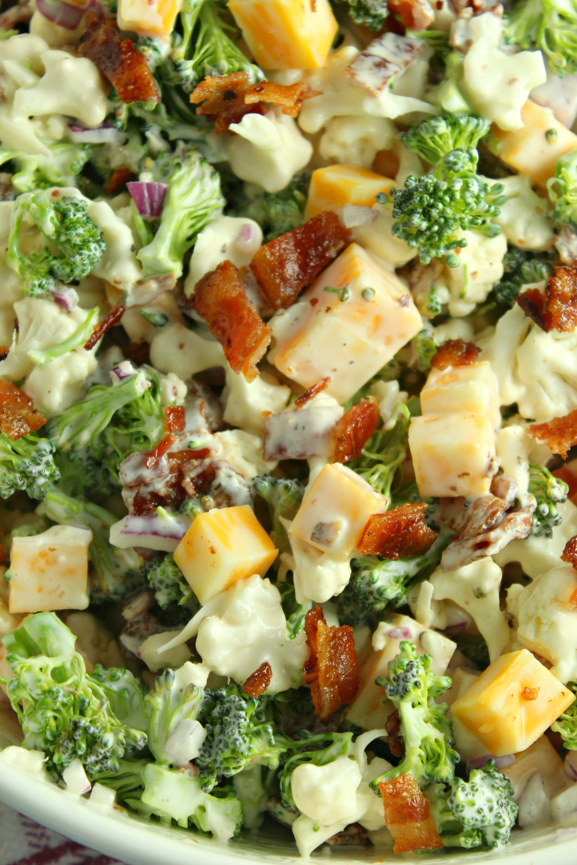 Loaded Broccoli Cauliflower Salad Low Carb