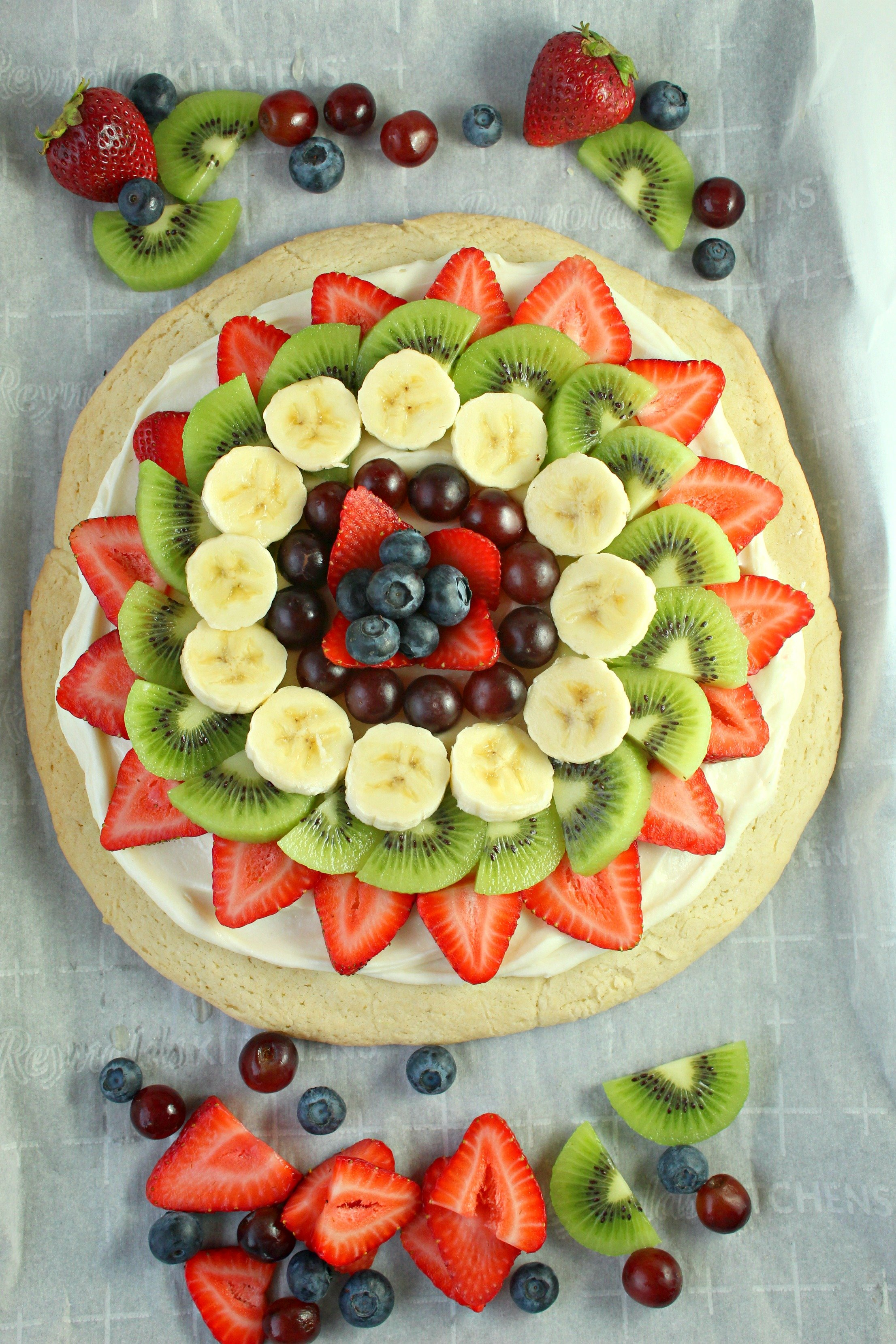 Fruit Pizza On A Sugar Cookie Crust